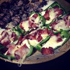 The Fat Bomb: Cream cheese, bacon, and bell peppers. -4 oz cream cheese -1 green bell pepper -4 slices of bacon (cut up and pan fried until crispy) -salt and pepper to taste -Olive oil to coat the peppers with