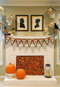gorgeous halloween mantel.
