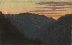tramonto in montagna / angelo morbelli, 1907