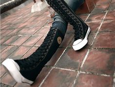 Women Girl Punk EMO Rock Gothic zip Lace up Canvas boot shoe sneaker knee high | eBay