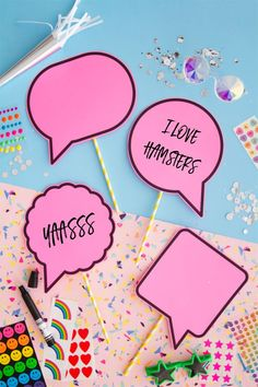 """We recently teamed up with Lindt Chocolate for this Emoji-inspired party. The concept: to encourage guests to """"express themselves"""" whether by writing their own message on speech bubble props for a pho"""