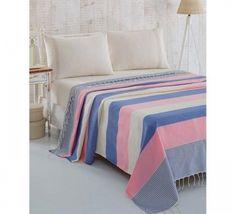 Cuvertura Pique Natural - Roz/Albastru Comforters, Blanket, Bed, Natural, Furniture, Home Decor, Pique, Creature Comforts, Quilts
