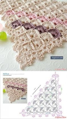 Crochet Poncho FREE Crochet pattern for a gor Crochet Shawl Diagram, Crochet Poncho, Crochet Chart, Crochet Scarves, Crochet Motif, Crochet Lace, Free Crochet, Hexagon Crochet, Poncho Knitting Patterns