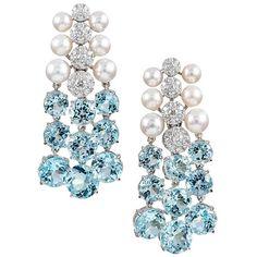 "Seaman Schepps ""Cascade"" Earrings with Blue Topaz, Diamonds and Pearls For Sale Jewelry Design Earrings, Jewelry Box, Jewellery, Blue Topaz Diamond, Beads And Wire, Wedding Earrings, American Jewelry, Chandelier Earrings, Fashion Jewelry"