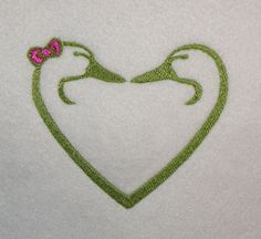 Outlined Duck Heads Heart Machine Embroidery by JaLeiEmporium