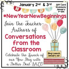 Join us for our blog launch with a giveaway, and dollar sale January 2nd & 3rd. There will be a wealth of teaching tips, ideas, and resources.
