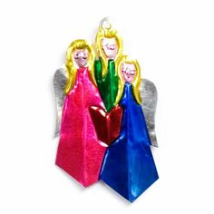 Set Of 5 Painted Tin Angels Decor: Set of 5 painted tin angels by Milagros. An assortment of five different angels.