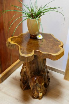 Solid teak wood side table with tree trunk foot Tree slice as image 3 indonesia Solid teak wood side table with tree trunk foot Tree slice as a table top