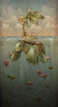 I thought this piece really caught my eye because it shows the other side of things and  it has very nice structure. This is very creative using a giant turtle also as an island with a palm tree on its shell.