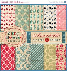 50 off Annabelle digital scrapbooking papers with by LillyBimble, $2.50