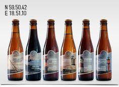 Västergården Bryggeri, öletiketter Label Design, Packaging Design, Beer Bottle, Wine, Drinks, Pink, Drinking, Beverages, Beer Bottles