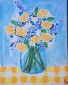 Painted by myself🎨🌼 #flowerpainting #painting #flowers #oilpainting #art #roses #blue #yellow #vase