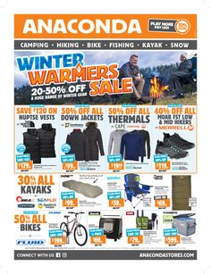Do you know what's on sale in the Anaconda australia for this week? If you haven't, using the store's weekly catalogue advertisements will be your great guide. Free Mail, Catalog Shopping, Weekly Specials, 50 Off Sale, Anaconda, Winter Warmers, Do You Know What, Kayak Fishing, Kayaking