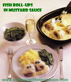 Microwave Fish Roll-Ups in Mustard Sauce..... If you like fish, mustard sauce, onions and herbs, this is the dish for you