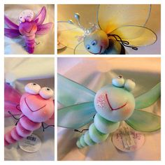 DIY large butterfly. Use fairy wings from Dollar Tree. For the body use a knee hi stocking. Fill with fiberfill then create the body segments and antennae using pipe cleaners. Inexpensive yet beautiful.