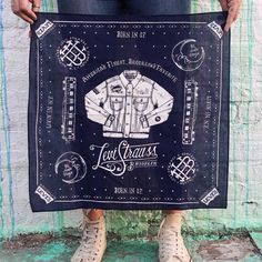 """""""Bandanas we printed for @levis designed by @zacharykiernan for the Brooklyn store opening. #handcrafted #workwithyourhands #printmaking #craft…"""""""