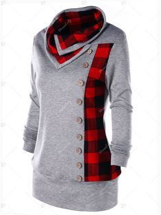 Plus Size Plaid Cowl Neck Tunic Sweatshirt -