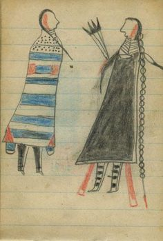 Plains Indian Ledger Art: Wild Hog Ledger-Schøyen - COURTING:  A Man with Eagle Fan Courts a Woman in 2nd Phase Navajo Chief's Blanket