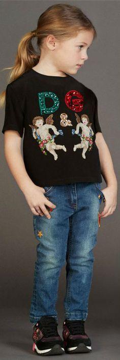 ON SALE!!! Love this DOLCE & GABBANA Girls Black Angels Silk Top, Embellished Denim Jeans & Black Sneakers. #kidsfashion #girl #dolcegabbana #minime #fashion