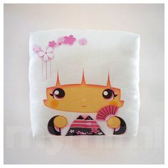 Decorative Pillow, Mini Pillow, Kawaii Toy Pillow - White Kokeshi Geisha. $18.00, via Etsy.