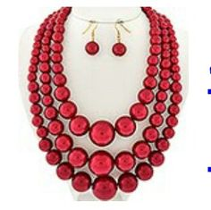 3 layered pearl set-red