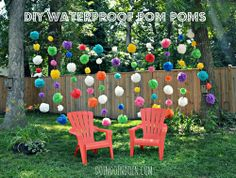 DIY OUTDOOR PARTY DECORATIONS: WATERPROOF POM POMS (made with plastic table covers, still some left from 2013)
