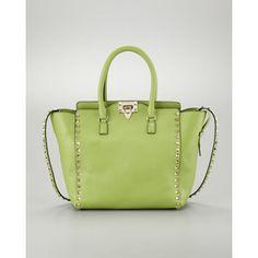Valentino Rockstud Medium Tote Bag, Pop Apple - Polyvore