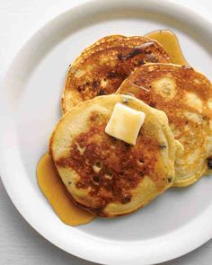 Buttermilk makes these pancakes especially tender. After you ladle the batter onto the griddle, sprinkle fresh blueberries over each pancake to ensure perfect distribution.
