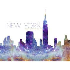 NYC Skyline Galaxy Universe Fine Art Print (60 BRL) ❤ liked on Polyvore featuring home, home decor, wall art, fillers, art, backgrounds, images, new york city wall art, skyline wall art and word wall art