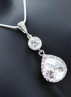 Gorgeous Cubic Zirconia Bridal Necklace