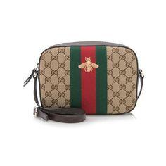 Rental Gucci GG Canvas Bee Web Shoulder Bag ($125) ❤ liked on Polyvore featuring bags, handbags, shoulder bags, brown, canvas purse, brown cross body purse, crossbody handbags, over the shoulder handbags and gucci handbags
