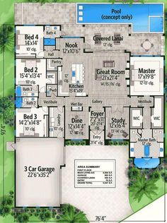 Spacious Florida House Plan Floor Master Suite Butler Walkin Pantry CAD Available DenOfficeLibraryStudy Florida PDF Southern Split Bedrooms Architectural D. House Plans One Story, New House Plans, Dream House Plans, Story House, House Floor Plans, My Dream Home, Four Bedroom House Plans, 4000 Sq Ft House Plans, The Plan