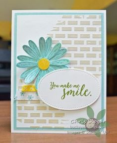 Embossing paste tinted crumb cake Daisy Punch & Daisy Delight stamp set. Old Olive Ink, White, Daffodil & Pool Party card Stocks. Whole lot of lovely DSP