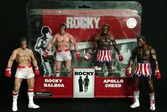 Pack 2 figuras Rocky 1976. Apollo vs Rocky golpeados, NECA
