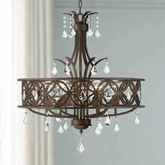 "Charlemagne 25 1/2"" Wide Tobacco Brown 6-Light Chandelier - #13K53 