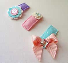 SOFT SERVE. Set of 3 Felt Hair Clips. Made in 100 by ThePrettyOwl, $13.45