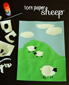 Torn paper sheep art project for kids