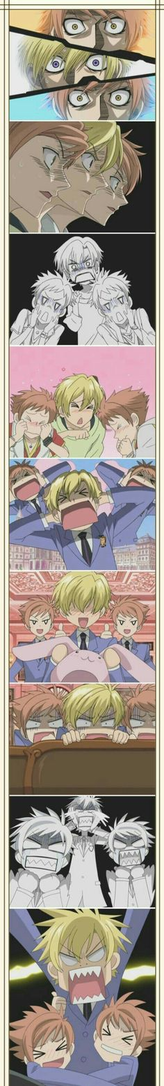 Hitachiin twins, brothers, Hikaru, Kaoru, Tamaki, funny, different expressions; Ouran High School Host Club