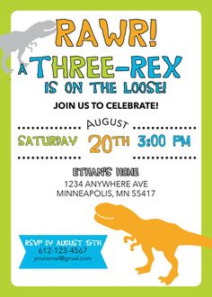 Dinosaur birthday invitation for a t-hree rex year olds birthday. This can be customized for other ages. Customize with your childs name and age. --------------------------------------------------------------------------------------------- WHATS INCLUDED Third Birthday Boys, 3 Year Old Birthday Party Boy, Twin Birthday, 3rd Birthday Parties, Birthday Ideas, Dinosaur Birthday Invitations, Dinosaur Birthday Party, Watermelon Birthday Parties, T Rex