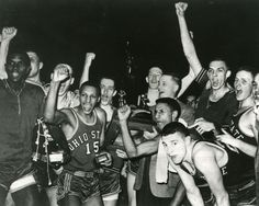 One of the greatest teams of all time,1960 NCAA Men's Basketball National Champion Ohio State Buckeyes.  Led by Jerry Lucas and John Havlicek, this team played in two other title games and had a three year record of 78-6.  The young man in the front right is Coach Bob Knight.