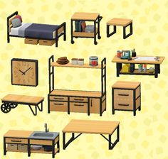 Animal Crossing: New Horizons Complete Ironwood set with pictures! : AnimalCrossing Unravelling The Animal Crossing 3ds, Animal Crossing Wild World, Animal Crossing Villagers, Animal Crossing Qr Codes Clothes, Animal Crossing Pocket Camp, Geek Home Decor, Motif Art Deco, Ac New Leaf, Motifs Animal