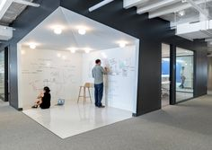 This corner office is another area with surfaces that are perfect for brainstorming.