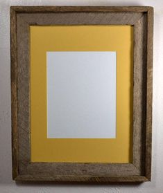 Rustic Picture Frame 9x12 Yellow Mat Wall Hung With Glass 20 Mat
