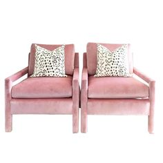 Milo Baughman Parsons Style Pink Velvet Lounge Chairs - A Pair - Image 5 of 7