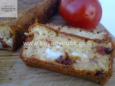 SALTY CAKE WITH FETA CHEESE AND DRIED TOMATOES Salty Cake, Dried Tomatoes, Greek Recipes, Feta, Banana Bread, Cheese, Desserts, Tailgate Desserts, Deserts