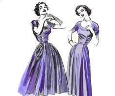 50s Cocktail Dress Pattern Gathered Bodice by allthepreciousthings, $55.00