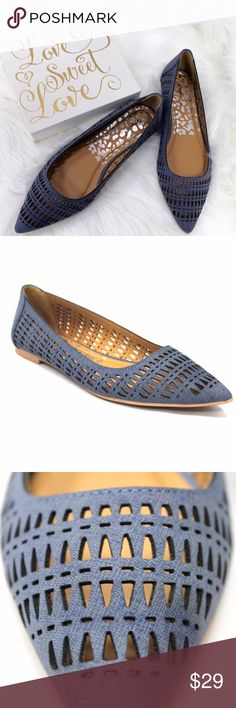 NIB Blue Denim Cut Out Pointy Toe Ballet Flat Brand NewSo Comfy and So CasualAll sizes availableVegan MaterialsTrue to sizewww.thefairyden.com                      For the month of July only I can adjust the price to provide free shipping for anyone who reads this! Upon request I can create a listing which will be the original price minus the the shipping cost!  Shoes Flats & Loafers