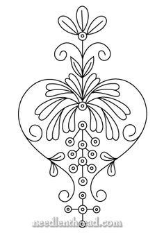 Folk Embroidery Patterns Traditional Scandinavian embroidery design (I believe). Learn Embroidery, Crewel Embroidery, Hand Embroidery Patterns, Cross Stitch Embroidery, Machine Embroidery, Scandinavian Embroidery, Scandinavian Folk Art, Art Nouveau, Rosemaling Pattern