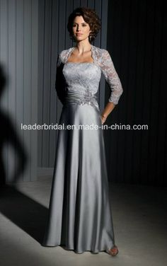 Gray Lace Satin Mother of The Bride Dress Long Evening Dresses M13522
