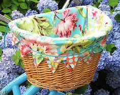 Linen Bicycle Basket Liner for Ellie by BlueSkyConfections on Etsy